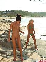 6 Babes Go Crazy on a Public Beach