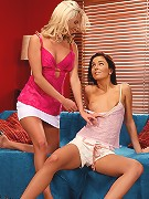 Crystal and Billy - Luscious lesbians dildo tight butts