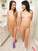 Aliz and  Miri - Dildo Love - Two cute brunettes enjoy a dildo