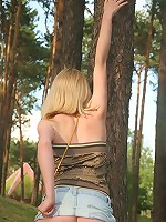 Blonde teen Vlada gives you lots of up-skirt views!