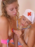Anna likes to play with Mariya. Nude doctor Anna is very happy that Mariya was such a horny patient.