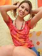 Sweet teen strips off red bra and panties
