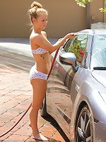 Madison gets wet at the carwash