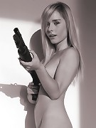 Mischievous Kara Duhe playing with a shotgun on the bed naked