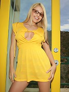 Smoking hot brazillian busty teen Sandy Summers in a salacious yellow dress spreading her pussy