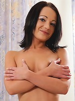 Nubiles.net Nina Lee - Hot Nubile coed arouses herself as she touches her shaved pussy in bed