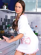 Nubiles.net Yudita - Naughty babe Yudita shows off her tender tits and pussy in the kitchen