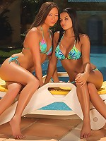 Natali and Sascha - Bikini hotties oil up and finger