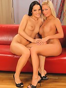 Maddy and Esmeralda - Blonde and brunette strip and lick