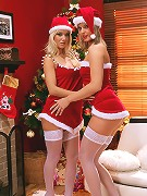 Salma and Karie - Vixens in Santa outfits lap and rub